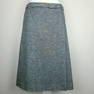 Pendleton wool / silk gray tweed faux wrap skirt